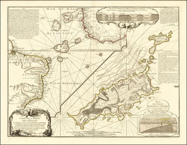 99-Atlantic Ocean, Pacific Ocean, Alaska, America and Curiosities Map By Philippe Buache