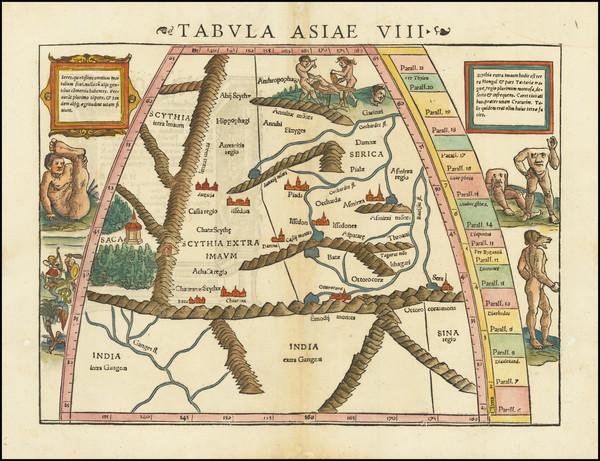 100-India, Central Asia & Caucasus, Comic & Anthropomorphic and Curiosities Map By Sebastia