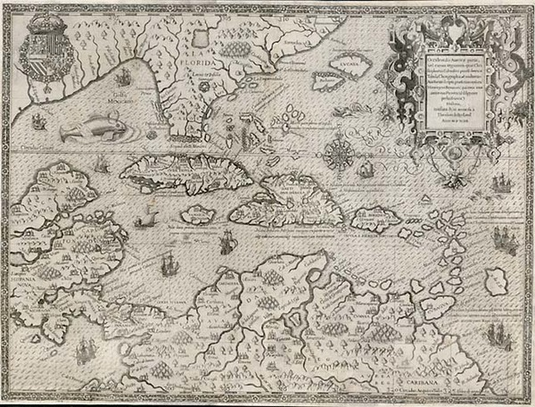 95-South, Southeast, Caribbean and South America Map By Theodor De Bry / Girolamo Benzoni