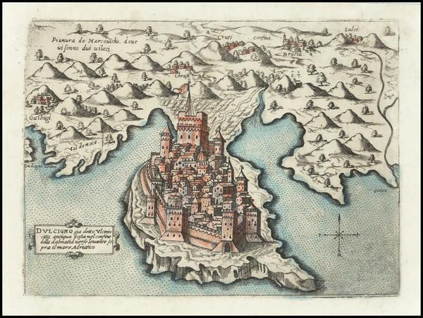 65-Serbia & Montenegro Map By Giovanni Francesco Camocio