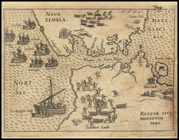 37-Polar Maps and Russia Map By Levinus Hulsius