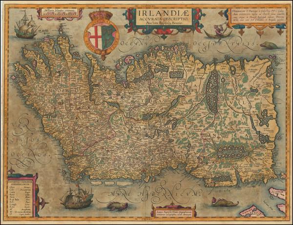 39-Ireland Map By Abraham Ortelius / Johannes Baptista Vrients