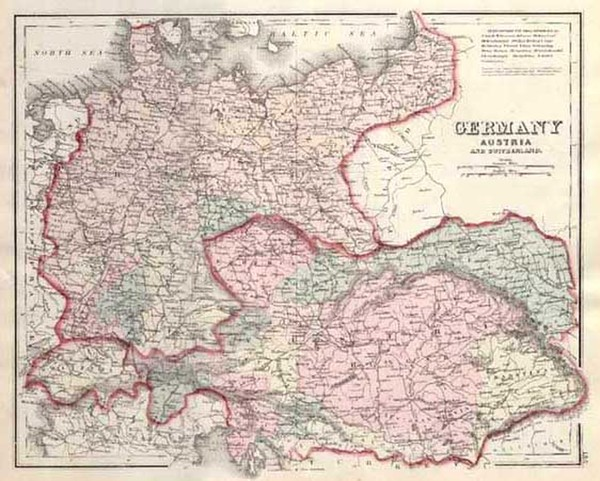 8-Europe, Switzerland, Germany and Austria Map By Frank A. Gray