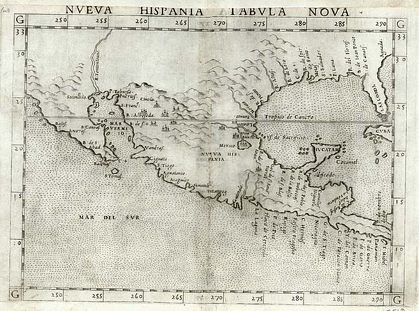 84-South, Southeast, Southwest and Mexico Map By Girolamo Ruscelli