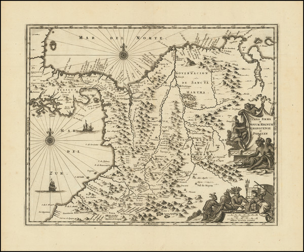38-Central America and Colombia Map By John Ogilby