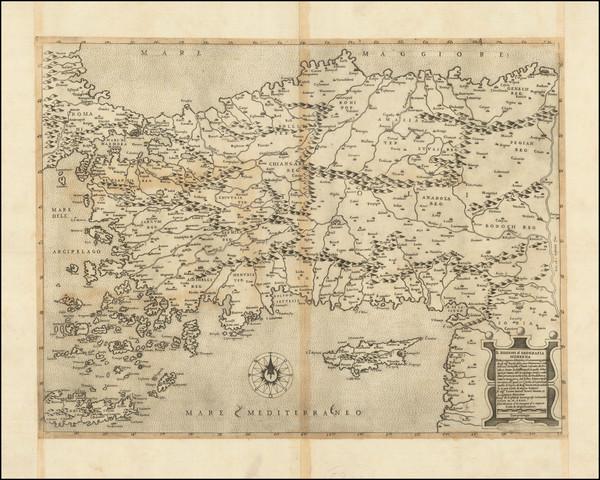 34-Turkey, Cyprus, Holy Land, Turkey & Asia Minor and Greece Map By Giacomo Gastaldi / Paolo F