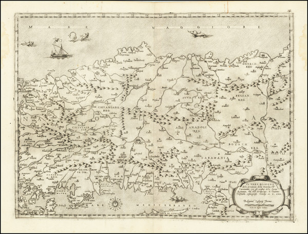 80-Turkey, Cyprus, Middle East and Turkey & Asia Minor Map By Giacomo Gastaldi / Bolognini Zal