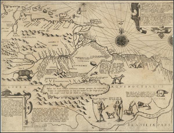 51-South America, Guianas & Suriname and Venezuela Map By Theodor De Bry