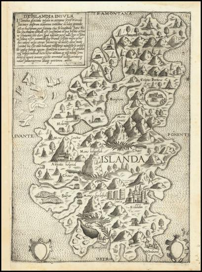 94-Iceland Map By Giovanni Francesco Camocio