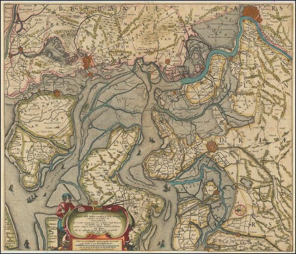 52-Netherlands and Belgium Map By Claes Janszoon Visscher