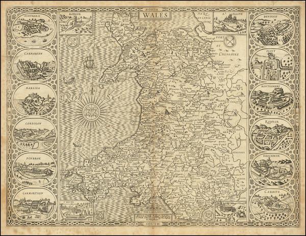 8-Wales Map By John Speed