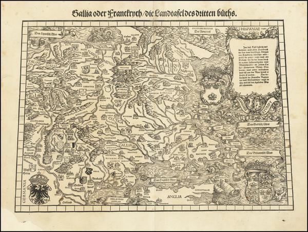 13-Belgium, Switzerland, France and Germany Map By Johann Stumpf