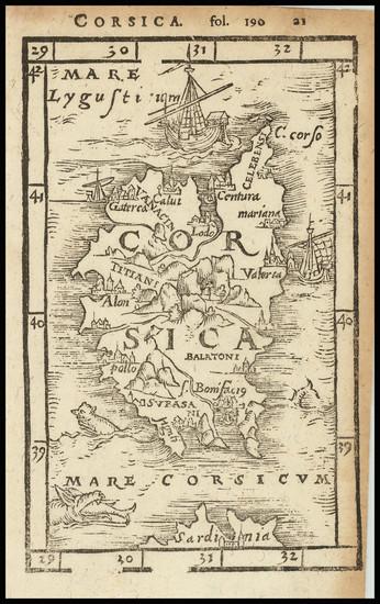 16-Corsica Map By Johann Honter
