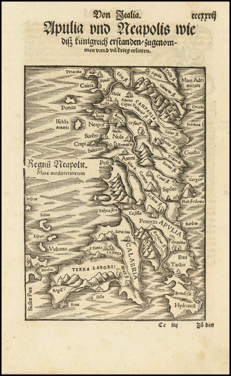 9-Southern Italy Map By Sebastian Munster