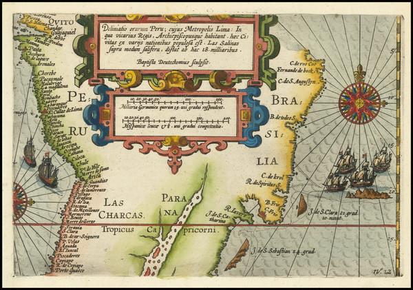 98-South America, Chile, Brazil and Peru & Ecuador Map By Nicholas Van Geelkercken / Baptista