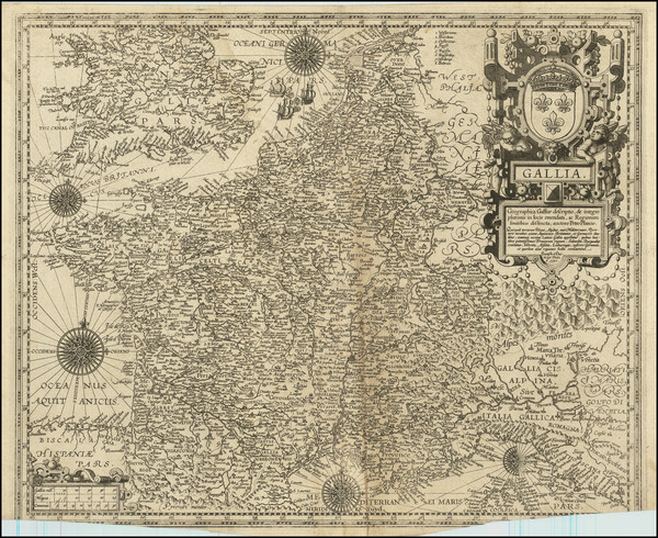 2-England, Netherlands, Belgium, Switzerland, France and Northern Italy Map By Petrus Plancius