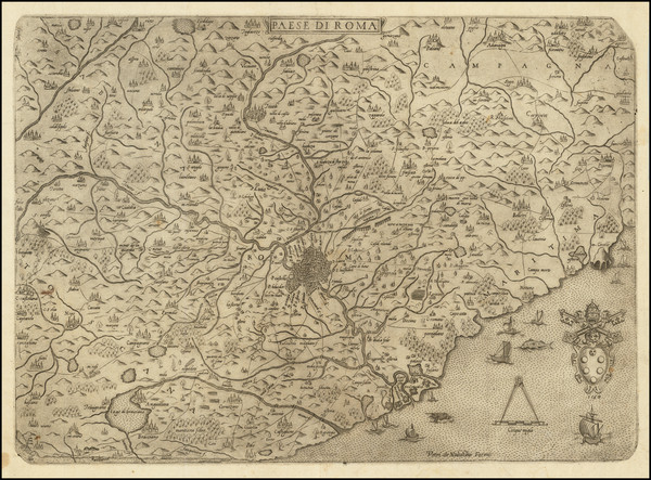 93-Southern Italy and Rome Map By Anonymous / Vincenzo Luchini