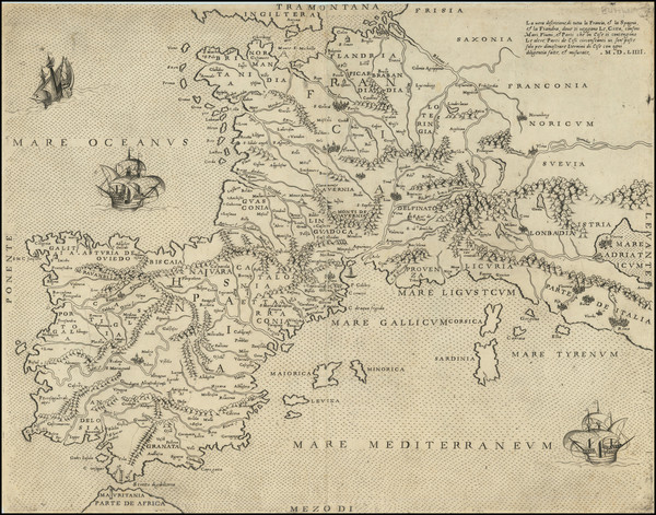 27-France and Spain Map By Antonio Lafreri