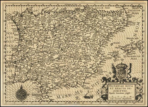 34-Spain and Portugal Map By Baptista Van Deutecum
