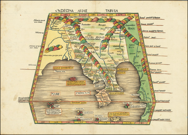 57-India and Southeast Asia Map By Martin Waldseemüller