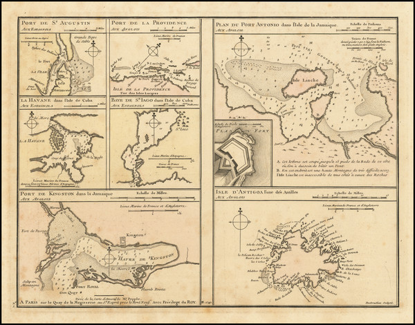 73-Florida, Cuba, Jamaica, Puerto Rico, Bahamas and Other Islands Map By Philippe Buache