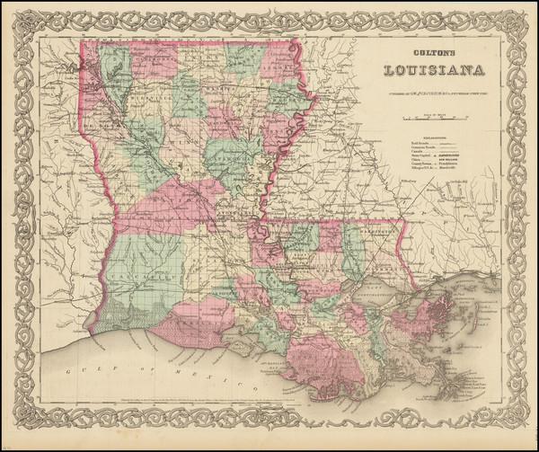 71-Louisiana Map By Joseph Hutchins Colton