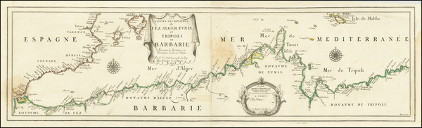 57-Spain, North Africa and Balearic Islands Map By Pierre Du Val