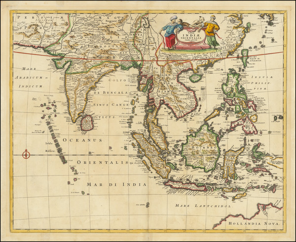 85-India, Southeast Asia, Philippines, Indonesia and Thailand, Cambodia, Vietnam Map By Frederick