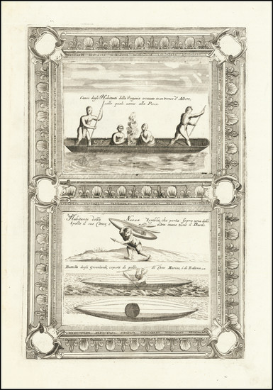 62-Polar Maps, Virginia, Russia and Curiosities Map By Vincenzo Maria Coronelli