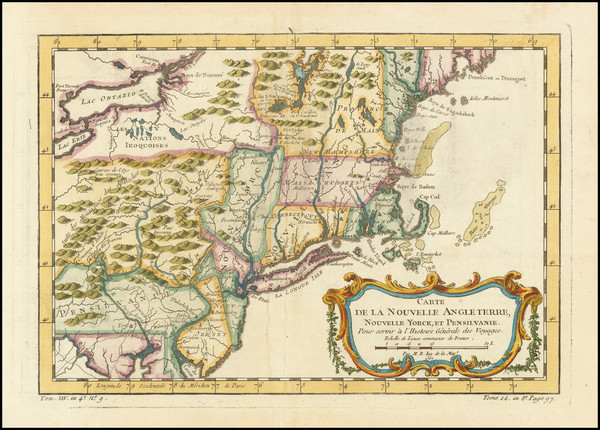 7-New England, Massachusetts, New York State, Mid-Atlantic and Pennsylvania Map By Jacques Nicola