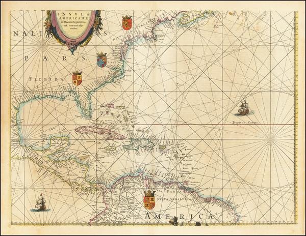 59-Atlantic Ocean, Florida, Southeast and Caribbean Map By Willem Janszoon Blaeu