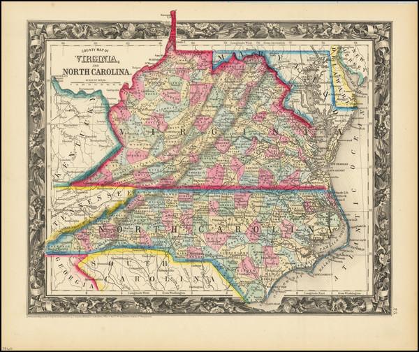 93-Virginia and North Carolina Map By Samuel Augustus Mitchell Jr.