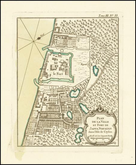 35-Sri Lanka Map By Jacques Nicolas Bellin