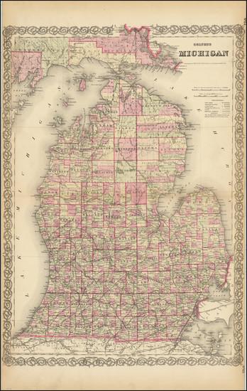 60-Michigan Map By G.W.  & C.B. Colton