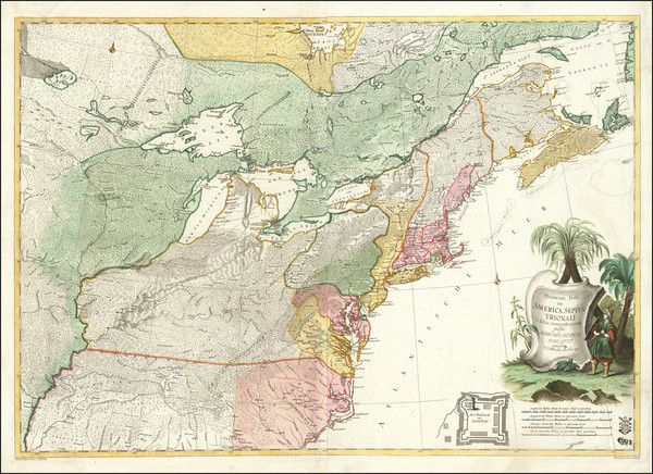 43-United States, Mid-Atlantic, South, Southeast and Midwest Map By Johann Christoph Rhode