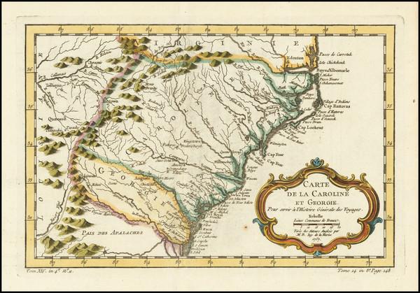 12-Southeast, Georgia, North Carolina and South Carolina Map By Jacques Nicolas Bellin