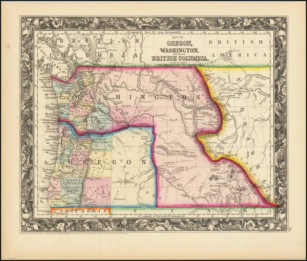 2-Idaho, Montana, Wyoming, Oregon and Washington Map By Samuel Augustus Mitchell Jr.