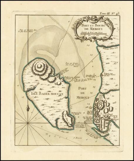 88-Thailand, Cambodia, Vietnam Map By Jacques Nicolas Bellin