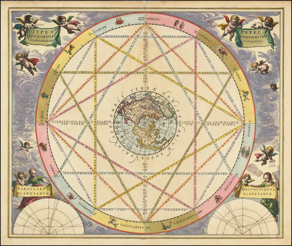 82-Northern Hemisphere, California as an Island and Celestial Maps Map By Andreas Cellarius
