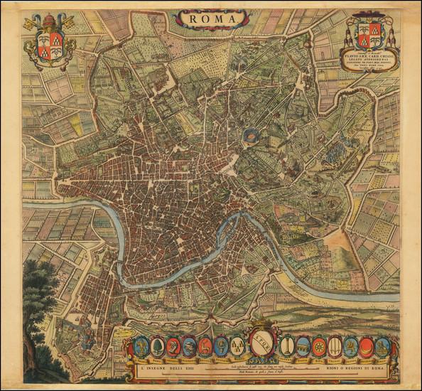 87-Rome Map By Willem Janszoon Blaeu / Cornelis Mortier