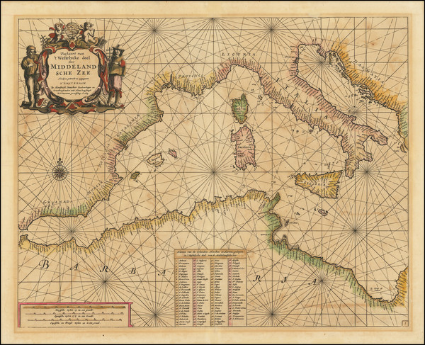 42-Italy and Mediterranean Map By Hendrick Doncker