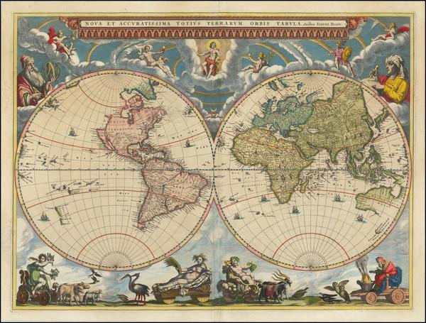 42-World and World Map By Johannes Blaeu