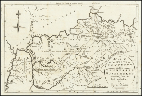 59-South, Kentucky and Tennessee Map By Jedidiah Morse
