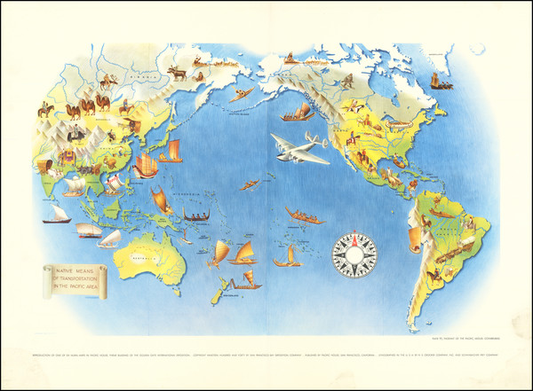 90-Pacific Ocean, North America, South America, Southeast Asia, Pacific and Pictorial Maps Map By