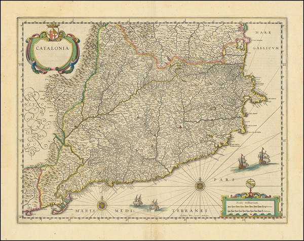80-Catalonia Map By Willem Janszoon Blaeu