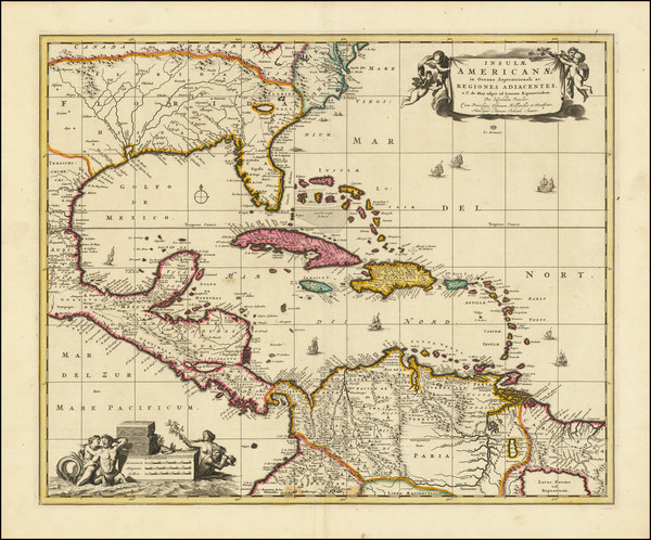 7-Florida, South and Caribbean Map By Nicolaes Visscher I / Peter Schenk Junior