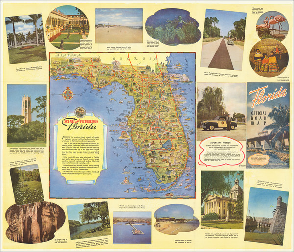 95-Florida and Pictorial Maps Map By George  Way