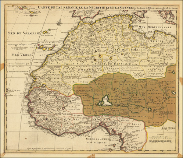 39-North Africa and West Africa Map By Guillaume De L'Isle