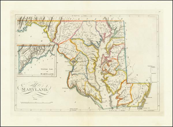 81-Maryland Map By Mathew Carey