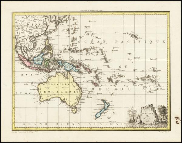9-Australia and Oceania Map By Conrad Malte-Brun